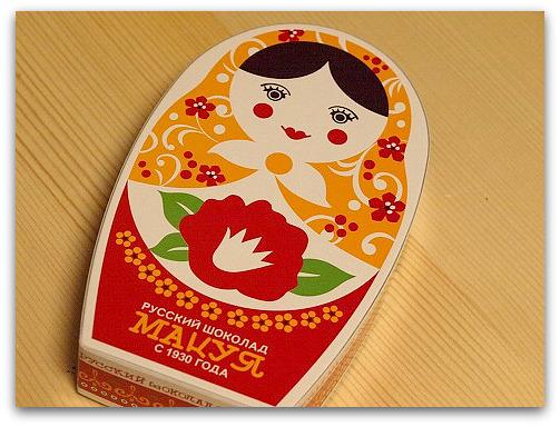 ロシアチョコレートの専門店マツヤのマトリョーシカに入ったロシアチョコレート