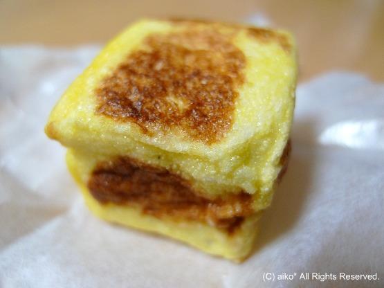 「おわら玉天」は富山の銘菓 林盛堂本店。卵焼きみたいな不思議なお菓子。