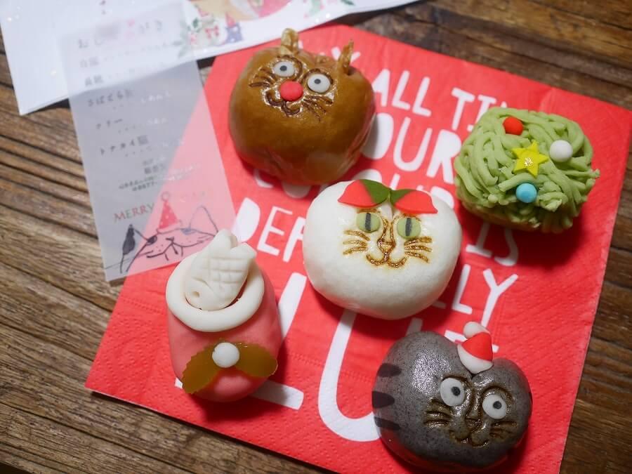 クリスマス猫!和菓子処 稲豊園、招福・猫子(ねこ)まんじゅう Xmasバージョン